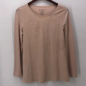 Chicos Blush Pink Faux Suede Top 0